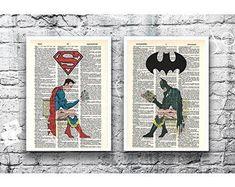 K&N 2 PCS Superhero wall poster art home decor HD printed - Vary dictionary page #KN #ArtDeco