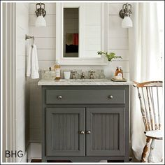 Cottage Bathroom - Design photos, ideas and inspiration. Amazing gallery of interior design and decorating ideas of Cottage Bathroom in bathrooms by elite interior designers. Grey Bathroom Vanity, Gray Vanity, Grey Bathrooms, Small Bathroom, Bathroom Vanities, Downstairs Bathroom, Country Bathrooms, Bathroom Sconces, Mirrored Vanity