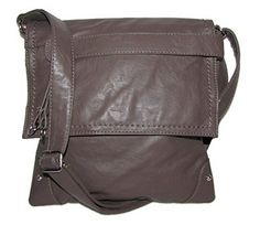 Stitched Flap Cross-body Handbag (Medium Brown) ** Click image for more details.