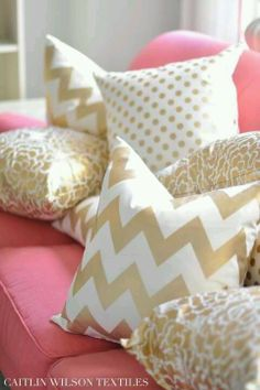 Pink and gold pillows & couch