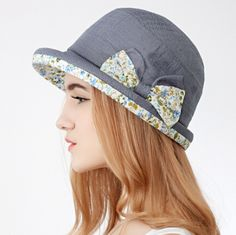 ec86094825c Ladies sun hats with floral bow bowler bucket hat UV protection