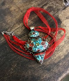 Tibetan tribal necklace  - Tibetan pendant -large artisan pendant -ethnic necklace-  turquoise stone, lapis and coral mosaic shavings. by Omanie on Etsy