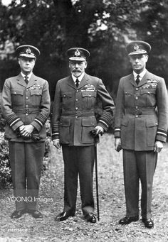 King George V (center) with his two eldest sons, Edward, Prince of Wales (later King Edward VIII) and Prince Albert of York (later King George VI), all dressed in military uniform.