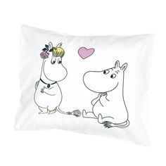 Moomintroll and Snorkmaiden pillow cover in white, with pink and yellow details. Take part in the cuteness that is seen on this pillow cover. The Moomin bed linens are inspired by Tove Jansson's original drawings and are authentic ©Moomin Characters™ licensed products.
