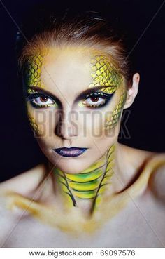 Attractive Young Woman In Makeup Snake Shot In The Studio Stock Photo, Picture And Royalty Free Image. Snake Face Paint, Dragon Face Painting, Medusa Makeup, Fish Makeup, Best Beauty Tips, Beauty Hacks, Eye Makeuo, Snake Costume, Medusa Costume