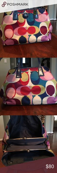 Coach Poppy Handbag Good condition!! Bright spring colors, comes with storage bag. Smalls spots on bottom from everyday use Coach Bags Shoulder Bags