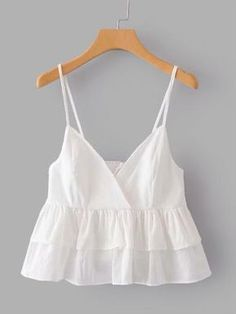Layer ruffle hem cami top -shein(sheinside) clothes and shoe Crop Top Outfits, Mode Outfits, Cami Tops, Cute Summer Outfits, Trendy Outfits, Indian Blouse Designs, Feminine Mode, Teen Fashion, Fashion Outfits