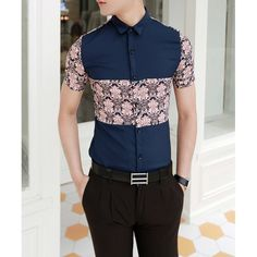 $17.05 Fashion Ethnic Pattern Splicing Shirt Collar Short Sleeve Slimming Cotton Shirt For Men