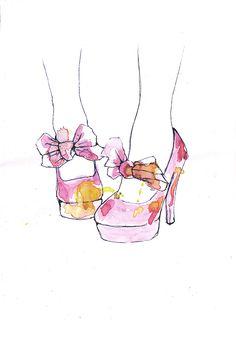 Shoe illustration Fashion Illustration Shoes, Beauty Illustration, Shoe Illustration, Fashion Illustrations, Watercolor Fashion, Watercolor Art, Love Art, Art Sketches, Fashion Art