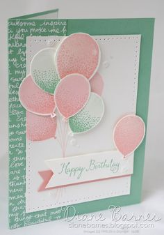 Birthday card using Stampin Up Balloon Celebration stamp set & Balloon Bouquet punch. By Di Barnes #colourmehappy 2016-17 annual catalogue