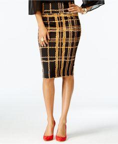 Thalia Sodi Gold-Tone Chain-Link Plaid Scuba Skirt, Only at Macy's - Skirts - Women - Macy's