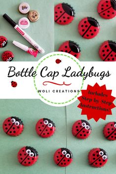 These super cute upcycled bottle cap ladybugs are such a simple way to add a pop of color to your home this spring. Add magnets to decorate your fridge. Diy Bottle Cap Crafts, Beer Cap Crafts, Bottle Cap Projects, Plastic Bottle Caps, Bottle Cap Magnets, Bottle Cap Table, Bottle Cap Art, Bottle Cap Jewelry, Bottle Bottle