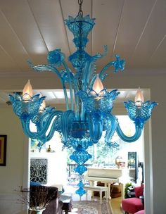 Murano blue glass chandelier
