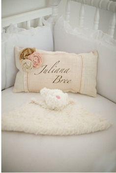 Personalized Burlap/Chevron Baby Pillow by VineandWineBoutique