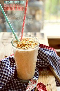 Peanut Butter & Banana Smoothie | Our favorite for breakfast & snacks! FamilyFreshCooking.com