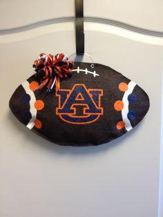Auburn Tigers Football Burlap Door Hanger. $30.00, via Etsy.