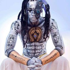 """Kemetic Cyborg"", modeled by @lekami971, body art by Jennifer Lange, Face and Body Art with Parker Jenkins."