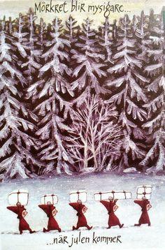 Swedish Christmas, Noel Christmas, Vintage Christmas Cards, Scandinavian Christmas, Winter Illustration, Christmas Illustration, Children's Book Illustration, Winter Drawings, Christmas Feeling