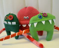Hnadmade Monster Keychain in 3 cheeky Designs by sausagedog, £10.00