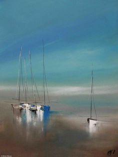 Le temps suspendu... - Painting,  80x2x60 cm ©2015 by Olivier Messas -                                                                        Contemporary painting, Canvas, Boat, Sailboat, voile, voilier, bateau, segel, sail, sailing, mer, sea, see, blue #OilPaintingBoat