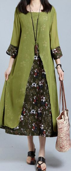 US$ 21.93 Vintage 3/4 Sleeve Floral Printed Fake Two Pieces Dresses