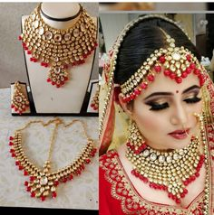 Red kundan bridal necklace set with Earrings & heavy mathapati ,Indian Bridal Jewelry,Bollywood, Statement Necklace, Sabyasachi Replica Earring Trends, Jewelry Trends, Jewelry Sets, Jewelry Accessories, Fashion Accessories, Kundan Jewellery Set, Bridal Jewellery, Bridal Jewelry Vintage, Bridal Necklace Set