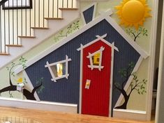 Incredible Kids Playhouses Under The Stairs Under Stairs Playhouse, Kids Indoor Playhouse, Childrens Playhouse, Build A Playhouse, Playhouse Ideas, Incredible Kids, Stair Storage, Deco Design, Play Houses
