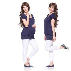 Feminine short-sleeved breastfeeding shirt, nursing top, baby, pregnancy fashion, maternity clothing, navy with dots, BLANCA by VivalaMamaBerlin on Etsy https://www.etsy.com/listing/399561397/feminine-short-sleeved-breastfeeding