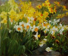 Spring Garden with Daffodils by Kathy Anderson