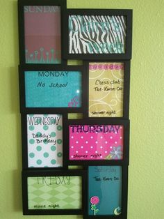 Weekly calendar:  the frame is from wal-mart. Decorate each frame with scrapbook supplies, then use dry erase marker on the glass.