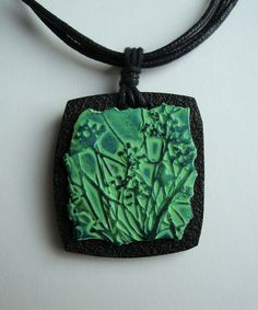 Meadow fragment pendant by Carrie Harvey polymer clay. | Flickr - Photo Sharing!