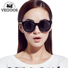 b90d51fef1 VEGOOS Polarized Women Round Fashion Sunglasses PC Retro Woman Polaroid  Driving Eyewear New Eyewear Size S  9068S