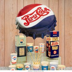 This vintage style Pepsi advertisement sign is great for diners, restaurants, kitchens, bars, soda fountains, and more. Made of cutout metal with embossed details. Measures 18W x 16H inches. Please note that this sign lies flat on the wall, but is cut to look like a 3D sign.