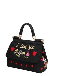 DOLCE  amp  GABBANA - SMALL SICILY EMBROIDERED GROSGRAIN BAG - LUISAVIAROMA  - LUXURY SHOPPING WORLDWIDE 060a50ee581e0
