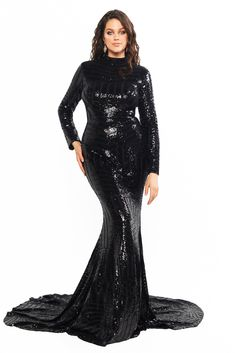 A&N Curve Liz - Black High Neck Sequins Gown with Long Sleeves Pink Gowns, Satin Dresses, Sexy Dresses, Plus Size Dresses, Sparkly Dresses, Evening Dresses, Dresses To Wear To A Wedding, Black Wedding Dresses, Wedding Gowns