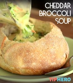 Cheddar Broccoli Soup | From setup to simmer, you can make this restaurant style, cheesy bread bowl in under 20 minutes! Ready, set, go!