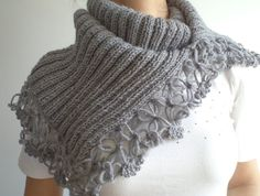 Scarf,  Wool Grey Cowl, Cowl, Women neck warmer, Capelet, scarf, scarves, Wool Cowl. Women accessories, autumn fashion.