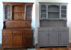 Before and After. Dresser painted in Little Greene Dark Lead over Zinsser Bin undercoat.