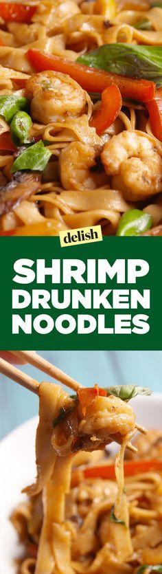 Shrimp drunken noodles are so much better than ramen. Get the recipe on Delish.com.