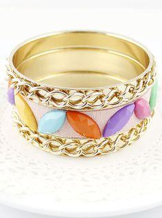 Brazalete multicadenas dorado con piedras multicolor EUR€5.27
