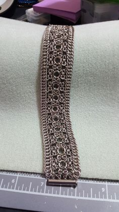 The pattern is The Bracelet Valentina by Cinquefix, adapted slightly for stainless. Put together by Bea Heath.