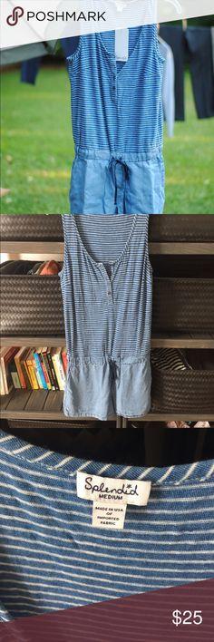Splendid indigo Stripe Romper M Splendid stripe indigo romper. Chambray shorts size medium. Pockets. Ties at was it. Super comfy and cute! Splendid Pants Jumpsuits & Rompers
