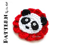 Ravelry: Panda Bear Flower Applique - Crochet PDF Pattern pattern by Ira Rott