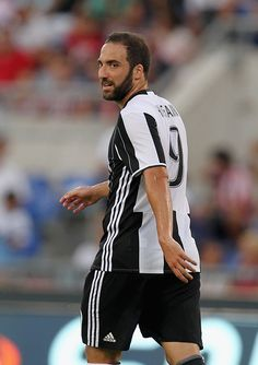 Gonzalo Higuain of Juventus FC looks on during the Serie A match between SS Lazio and Juventus FC at Stadio Olimpico on August 27 2016 in Rome Italy
