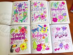 Bullet Journal Notes, Bullet Journal Ideas Pages, Bullet Journal Inspiration, Notebook Art, Notebook Covers, Pretty Letters, School Notebooks, Cartoon Painting, Decorate Notebook