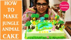 Jungle animal theme with fondant toppers elephant tiger giraffe deer pig monkey Lion birthday cake Simple Birthday Cake Designs, Easy Kids Birthday Cakes, Jungle Birthday Cakes, Cake Designs For Kids, Simple Cake Designs, Animal Birthday Cakes, Lion Birthday, Jungle Cake, Beautiful Birthday Cakes