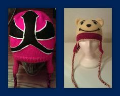 SOLD - Samurai Red Ranger ear flap hat and Winnie the Pooh ear flap hat