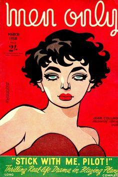 "JOAN COLLINS cover MEN ONLY March 1958 Illustration by R.S Sherriffs. 5""x7.5"" girls & gags mag. U.K (minkshmink collection) (please follow minkshmink on pinterest) #joancollins #menonly #rssherriffs #joancollinsmenonly #joancollinscover #joancollinsillustration"