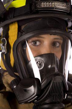 FoxFury Command 20 Fire helmet light on female firefighter / model with SCBA mask