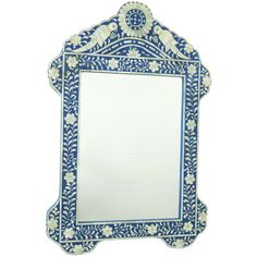 Blue Bird Bone Inlay Mirror - A simply stunning piece, this blue bone inlay bird mirror is an exquisite example of the art of Indian bone inlay. Hand-polished camel bone is expertly inlaid to create beautiful birds adorning the top of the mirror, as well as delicate floral patterns that trace their way along the sides and edges of the frame.